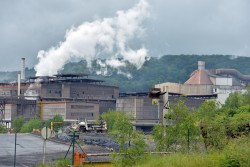 View of the factory of steel manufacturer ArcelorMittal in Differdange, Luxembourg.